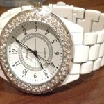 Replica White Chanel j12 - Diamante Bezel, one size. is being swapped online for free