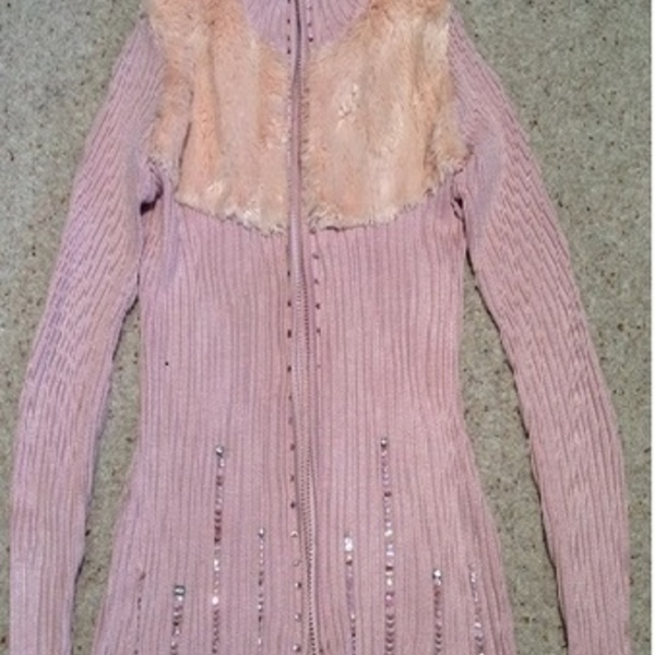 Pink Faux Fur Diamante Cardigan - size 12.  is being swapped online for free