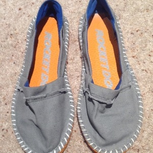 Rocket Dog Grey and Orange Plimsols - size 3.  is being swapped online for free