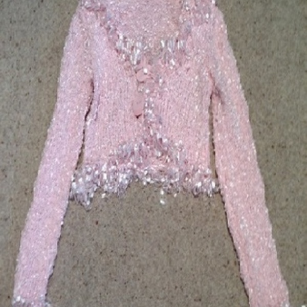 Pink Ruffle Collar Shrug - size 12.  is being swapped online for free
