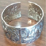 Genuine Indian Silver Engraved Bangle - One Size. is being swapped online for free