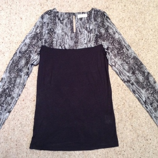 Jaden's Snake Print Sleeve Blouse - Size UK 6, black & grey. is being swapped online for free