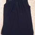 Dorothy Perkins Black Dip - Hem Blouse, Size UK 6, jewel/ studded. is being swapped online for free