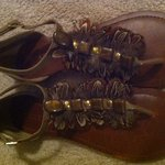 beautiful feather detail sandals -size 8.5 is being swapped online for free