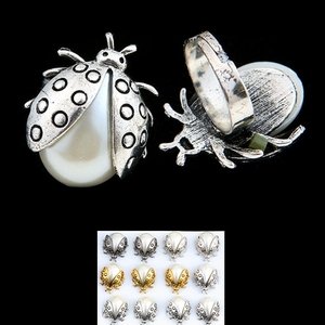 Silver Ladybug with fake Pearl RING adjustable size is being swapped online for free