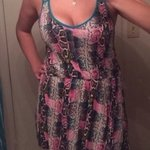 Drop waist snakeskin rainbow dress sz l is being swapped online for free