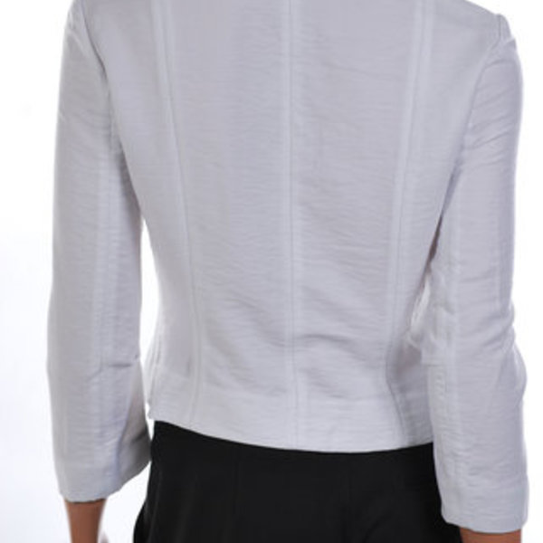 TRADED BCBG White Ruffled Woven Jacket Top 0/XS is being swapped online for free