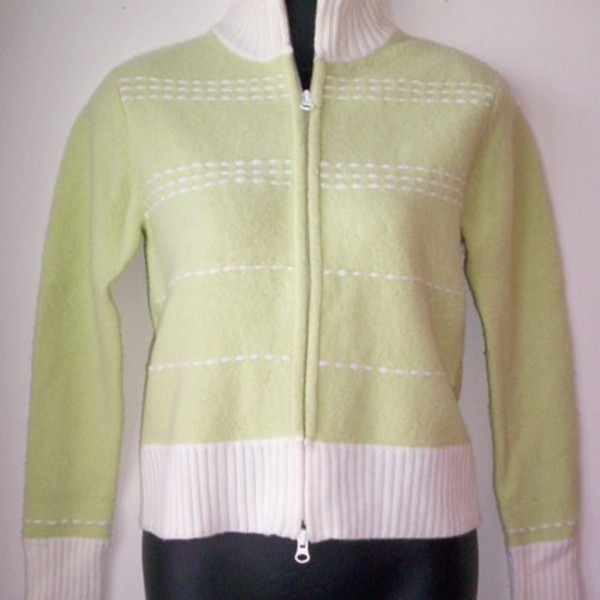Frost Lime Green Zip Cardigan Sweater M is being swapped online for free