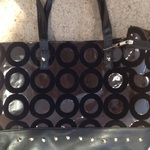 PVC Brown/ Black Studded Shopper Bag, with purse.  is being swapped online for free
