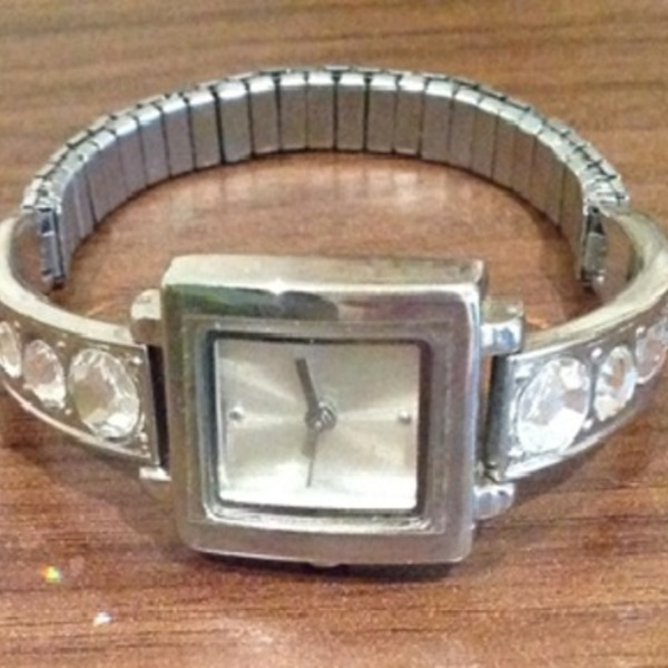 Silver Diamante Bangle Watch - One Size. is being swapped online for free