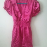 Hot pink fuchsia silk flowy top is being swapped online for free