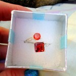 PRETTY RED & ORANGE SILVER RING is being swapped online for free