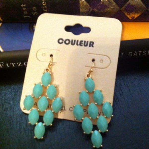 teal dangle earrings - brand new is being swapped online for free