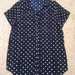 Glamorous Polka Dot Satin Blouse - Size UK 6, navy blue & white.  is being swapped online for free