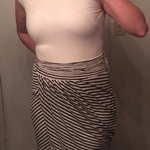 Mango striped career dress sz m is being swapped online for free