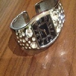 Crystal/ Gem Bangle Fashion Watch - one size, silver and black.  is being swapped online for free