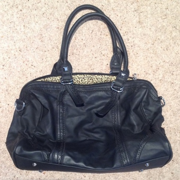 Black Faux Leather Tote Bag, large size. is being swapped online for free