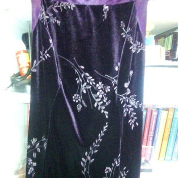 BEAUTIFUL PURPLE VELVET & SILK LONG DRESS is being swapped online for free