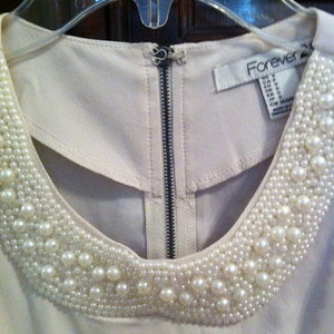 Forever 21 pearl collar peplum blouse size small is being swapped online for free
