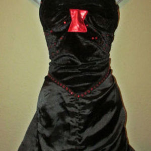 Gorgeous Black with Red Jewels Gothic Dress, size Small Medium is being swapped online for free