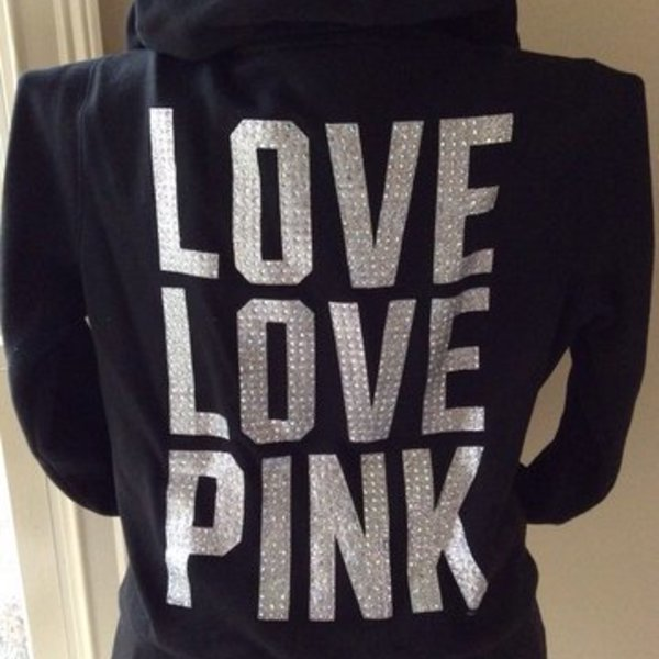 ON HOLD PENDING TRADE Victorias  Secret Black Blingy Hoodie  is being swapped online for free