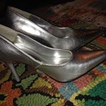Silver pointy toe heels is being swapped online for free
