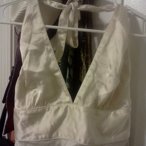 J.Crew Cream 100% Silk Halter Top New with Tags is being swapped online for free
