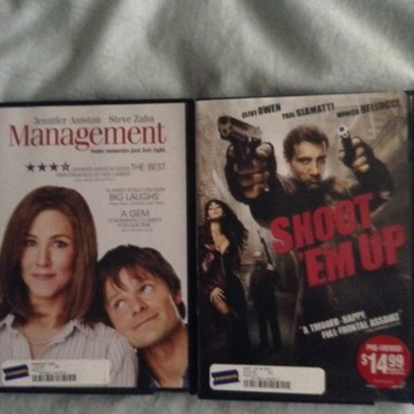 DVDs - Management and/or Shoot Em Up is being swapped online for free