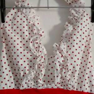 red/white polka dot halter dress is being swapped online for free