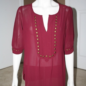 Burgundy Studded Sheer Blouse Size L  is being swapped online for free