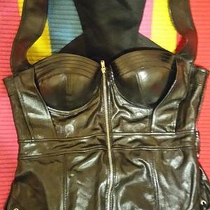 Never Worn Fake Leather Black Corset/Bustier  is being swapped online for free