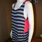Tresics Striped Navy/Coral Accent Tunic Tank Size L is being swapped online for free