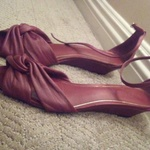 BURGUNDY RALPH LAUREN KITTEN FLATS  is being swapped online for free