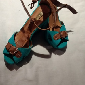 Turquoise Greek-style wedges, size 38 (UK 5) is being swapped online for free