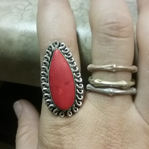 Vintage Sterling Red Tuquoise Ring - 6 is being swapped online for free