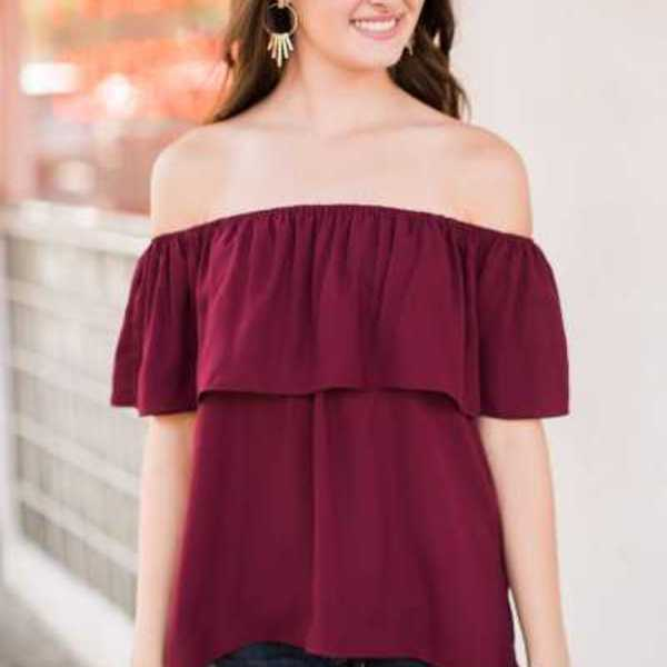 Pull & Bear | Off Shoulder Burgundy Bordeaux Top is being swapped online for free