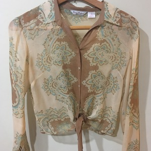 Tommy Bahama Silk Blouse/Beige/Turquoise is being swapped online for free