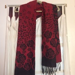 Red and black rose pattern scarf is being swapped online for free