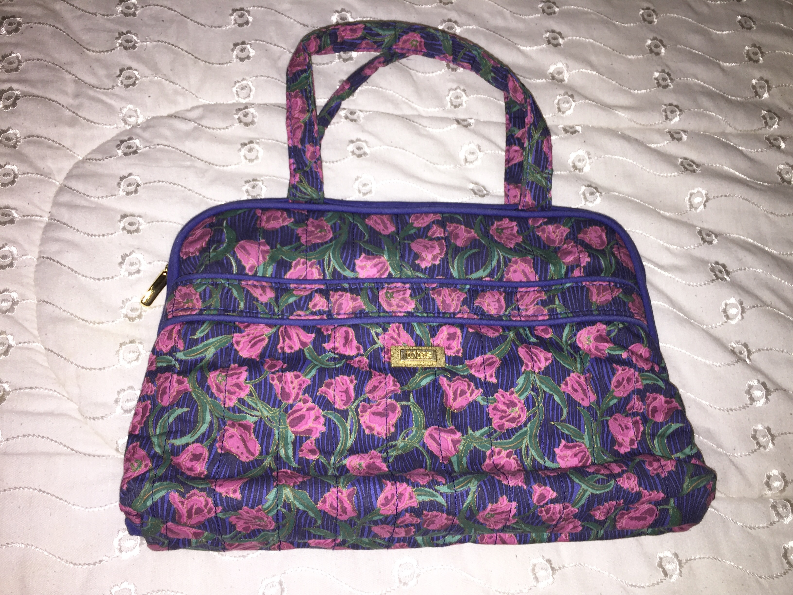 Totes Travel Set Toiletry Bag And Jewlery Bag In Blue And Purple Floral Pattern Available For ...