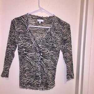 3/4 sleeve zebra print cardigan (sz. extra small) is being swapped online for free
