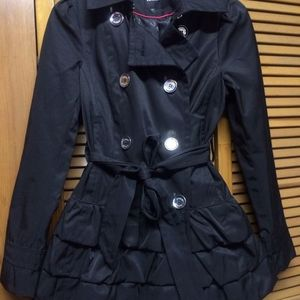 EXPRESS Black Button-Down Ruffle Hem Jacket (sz. extra small) is being swapped online for free