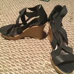 Black Wedge Strappy Sandals 8-8.5 is being swapped online for free