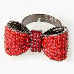 Brand New ! Red rhinestone bow knot ring ( Ajustable ) is being swapped online for free