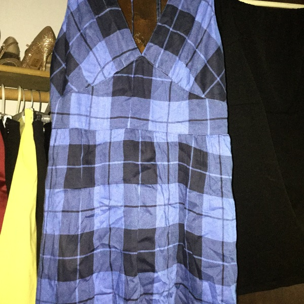 NWOT Blue & Black Plaid Dress Derek Heart S/M is being swapped online for free
