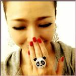 Brand New ! Cute Bling bling panda necklace and ring set  is being swapped online for free