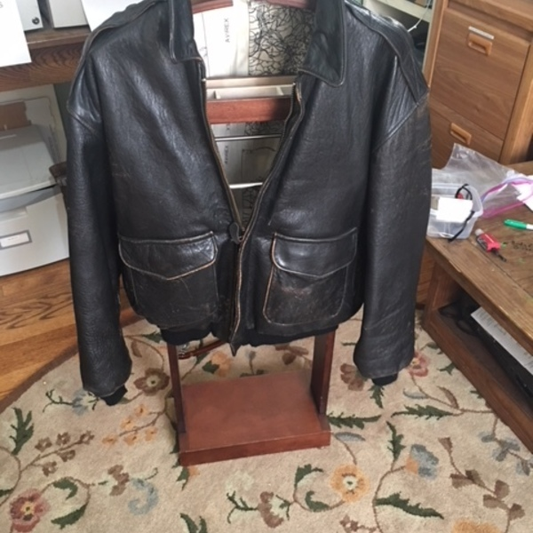 Mens Vintage Avirex A2 Leather Jacket XL  in good shape.  is being swapped online for free