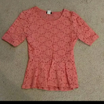 Coral Pink Lacy Peplum 3/4 Sleeve Top is being swapped online for free
