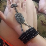 Bracelet ring combo with black beading and faux marcasite is being swapped online for free