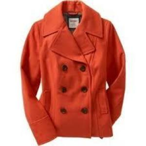 bright red old navy pea coat  is being swapped online for free