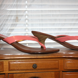 Coral low heel open toe shoes size 8 Excellent condition is being swapped online for free
